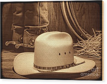 Cowboy Hat With Western Boots Wood Print