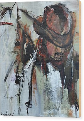 Wood Print featuring the painting Cowboy II by Cher Devereaux