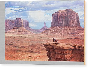 Cowboy In Monument Valley Wood Print by Kantor