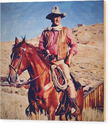 Cowboy John Wayne Wood Print by Vincent Monozlay