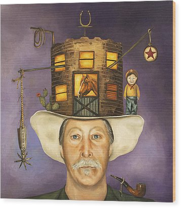 Cowboy Karl Wood Print by Leah Saulnier The Painting Maniac