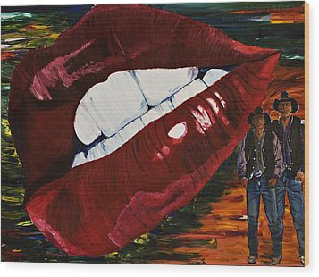 Cowboy Lips Wood Print by Gregory Allen Page