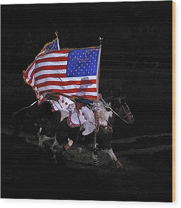 Cowboy Patriots Wood Print by Ron White
