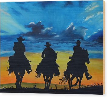 Cowboy  Sunset Wood Print by Stefon Marc Brown