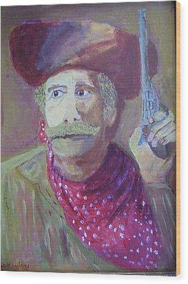 Cowboy With A Gun Wood Print