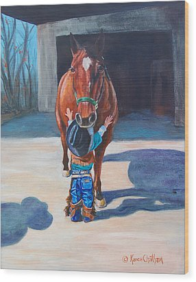 Wood Print featuring the painting Cowboy's First Love by Karen Kennedy Chatham