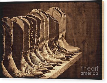 Cowgirl Boots Collection Wood Print by American West Legend By Olivier Le Queinec