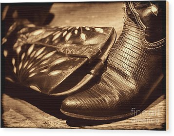Cowgirl Gator Boots Wood Print by American West Legend By Olivier Le Queinec