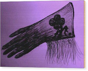 Cowgirl Glove Plum Classy Wood Print by Susan Gahr