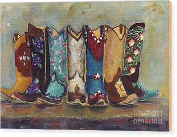 Cowgirls Kickin The Blues Wood Print by Frances Marino