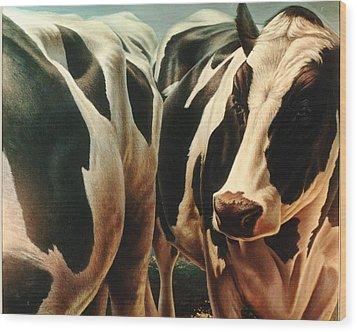 Cows 1 Wood Print by Hans Droog