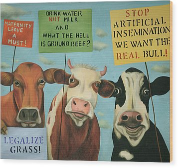 Cows On Strike Wood Print by Leah Saulnier The Painting Maniac