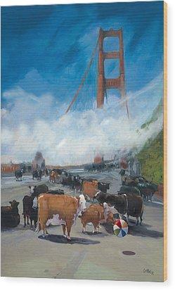 Cows On The Bridge 1 Wood Print by Kathryn LeMieux