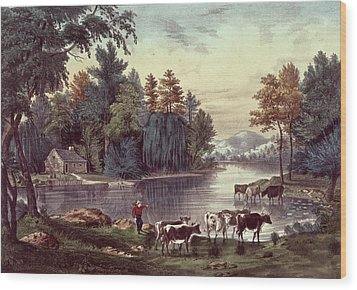 Cows On The Shore Of A Lake Wood Print by Currier and Ives