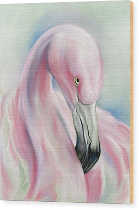 Coy Flamingo Wood Print