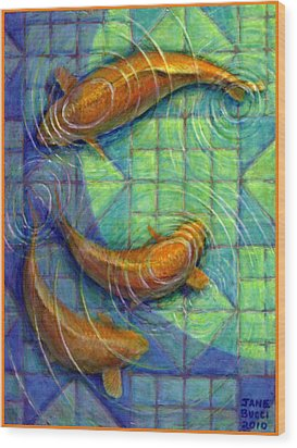 Wood Print featuring the painting Coy Koi by Jane Bucci