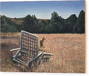 Coyote And Rabbit Wood Print by Lance Anderson
