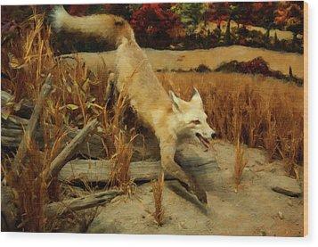 Wood Print featuring the digital art Coyote  by Chris Flees