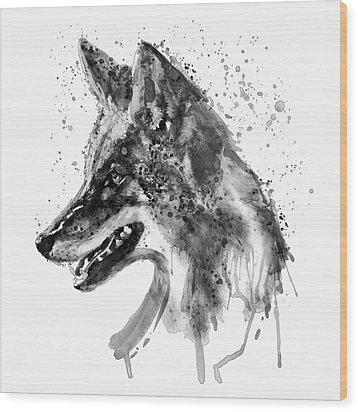 Wood Print featuring the mixed media Coyote Head Black And White by Marian Voicu