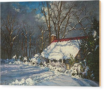 Cozy In The Snow Wood Print by L Diane Johnson