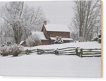 Cozy Snow Cabin Wood Print by J K York