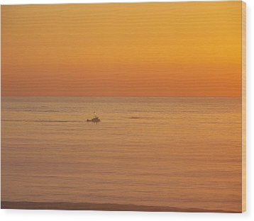 Crab Boat At Sunset Wood Print