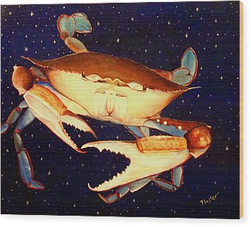 Crab In Space Wood Print by Scott Plaster