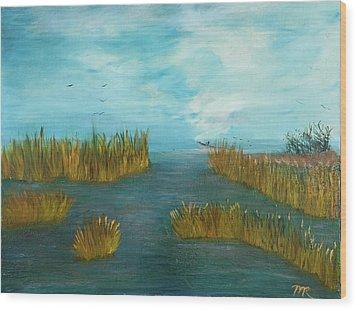 Crab Lady Landing In Big Lake Wood Print