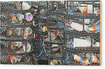 Crab Traps Wood Print by Larry Keahey