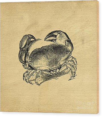 Wood Print featuring the drawing Crab Vintage by Edward Fielding