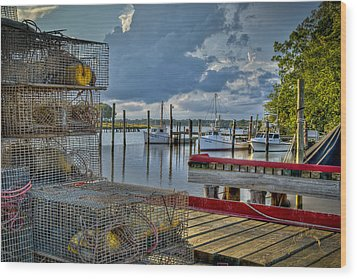 Crabpots And Fishing Boats Wood Print by Williams-Cairns Photography LLC