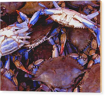 Wood Print featuring the digital art Crabs At The Market by Timothy Bulone
