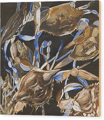Crabs Wood Print by Chelle Fazal