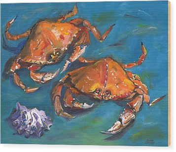 Wood Print featuring the painting Crabs by Susan Thomas