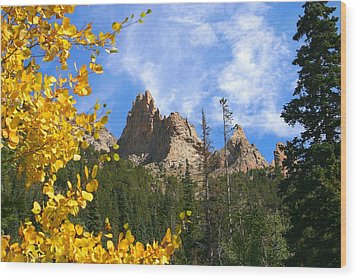 Crags In Fall Wood Print