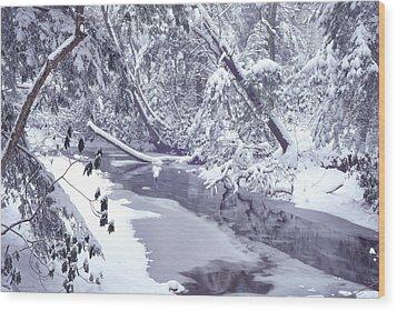 Cranberry River Winter Heavy Snow Wood Print by Thomas R Fletcher