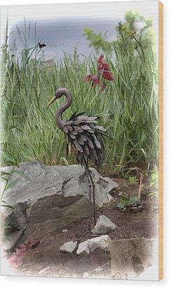 Crane Wood Print by Cherie Duran