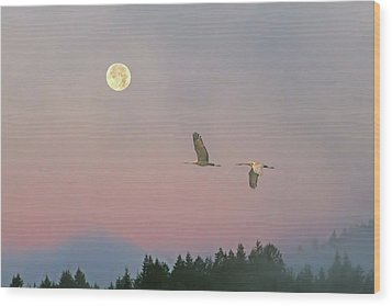 Wood Print featuring the photograph Cranes And A Full Moon At Dawn by Peggy Collins