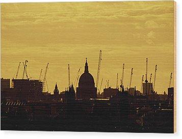 Cranes Over London Wood Print by Wayne Molyneux
