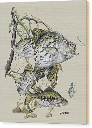 Crappie And Bass Wood Print