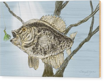 Crappie Time - 2 Wood Print by Barry Jones