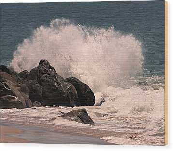 Wood Print featuring the photograph Crashing by Ron Dubin