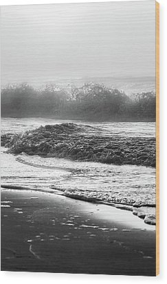 Wood Print featuring the photograph Crashing Wave At Beach Black And White  by John McGraw
