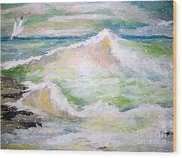 Crashing Wave Wood Print by Carol Grimes