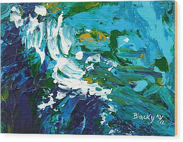 Crashing Wave Wood Print by Donna Blackhall