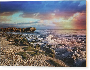 Wood Print featuring the photograph Crashing Waves At Low Tide by Debra and Dave Vanderlaan
