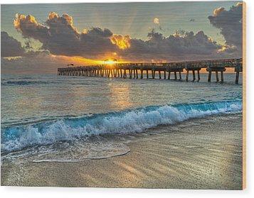 Crashing Waves At Sunrise Wood Print by Debra and Dave Vanderlaan