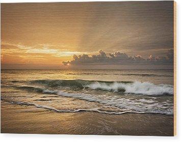 Crashing Waves At Sunrise Wood Print by Greg Mimbs