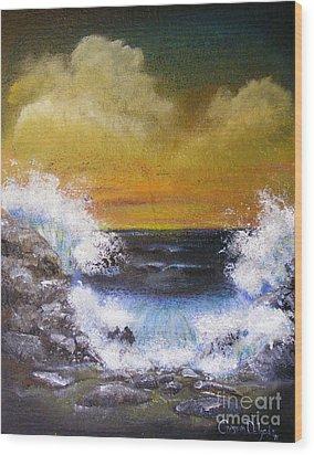 Crashing Waves Wood Print by Crispin  Delgado