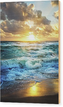 Wood Print featuring the photograph Crashing Waves Into Shore by Debra and Dave Vanderlaan